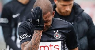 Partizan Belgrade's Brazilian midfielder Everton Luiz leaves the field in tears on February 19, 2017, at the end of a Serbian championship match between Partizan and Rad, after racist remarks from Rad's supporters, Serbian television B92 reported. Every time he touched the ball, 28-year-old Everton Luiz was being monkey-screamed from a group of supporters of Rad Belgrade, the source said. Shortly before the end, the match was briefly interrupted when Rad supporters also waved a banner with an insulting message against the Brazilian.  / AFP / STR        (Photo credit should read STR/AFP/Getty Images)